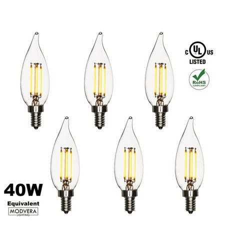 6 Pack Modvera 40w Equivalent Led Candelabra Bulb Bent Tip 4 Watt 2200k Color Temperature Chandelier Base E12