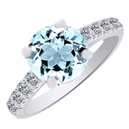 (3.4ct) Simulated Blue Aquamarine & Round Cut White Diamond Engagement Ring In 14k White Gold With Ring Size 7.5