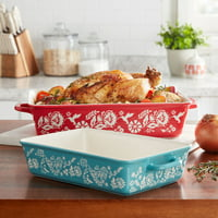 The Pioneer Woman Mazie 2-Piece Rectangle Baker Set