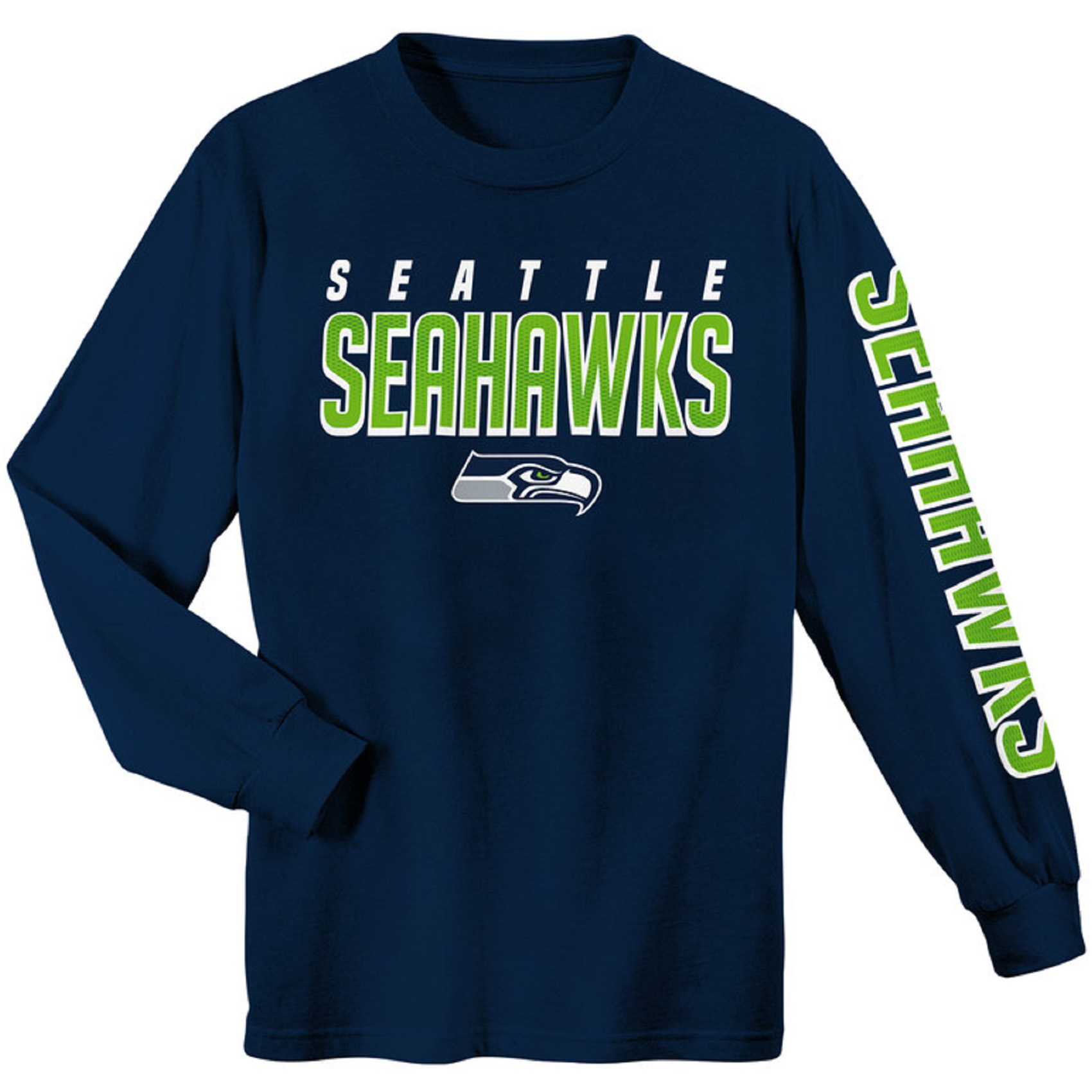 Youth College Navy Seattle Seahawks Sleeve Hit Long Sleeve T-Shirt