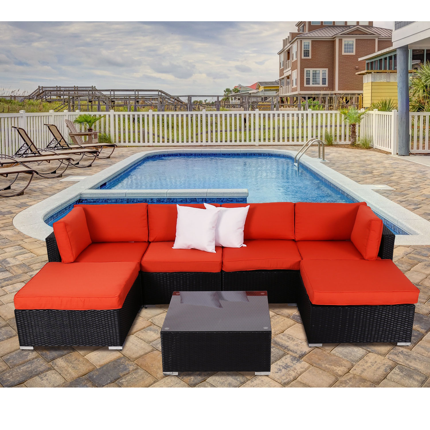 Kinbor 7pcs Outdoor Patio Furniture Sectional Pe Wicker Rattan Sofa Set 2 Ottoman Orange by Kinbor