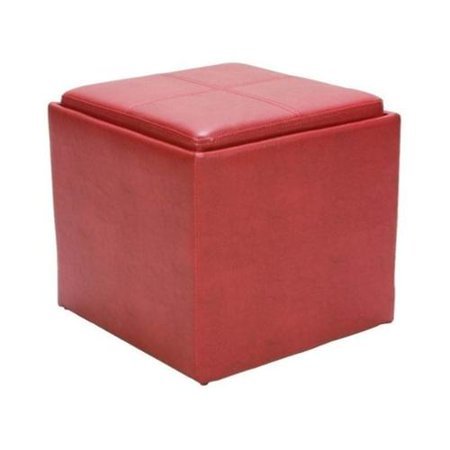 Trent Home Ladd Faux Leather Storage Cube Ottoman In Red