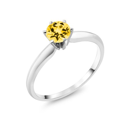 14K White Gold 6-Prong Solitaire Ring Set with Round Honey Topaz from Swarovski ()