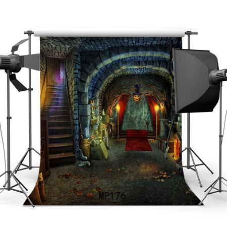 HelloDecor Polyster 5x7ft Photography Backgrounds Halloween Horror Night Indoor Mysterious Red Carpet Pumpkin Scene Children Adults Masquerade Photo Backdrop Studio Props - Masquerade Backdrop
