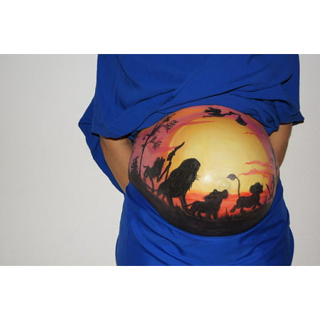 LAMINATED POSTER Baby Lion King Belly Painting Bellypaint Pregnant Poster Print 11 x 17