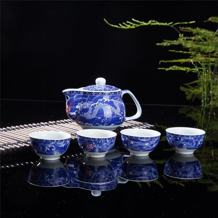 Exquisite 5 PCS Blue-And-White Dragon Design Ceramic Tea Pot Tea Cups Set In - Tea Cup Sets Cheap