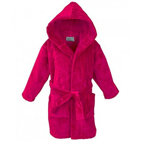 STAR Boys 100% Cotton Velour Hooded Terry Robe Bathrobe (14-16 Years, Hot Pink)