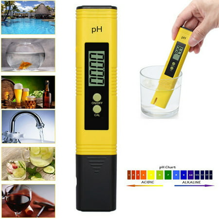 ESYNIC Water Tester Digital Water PH Meter Tester  Water Quality Test Pen size Portable PH Test Pen 0.00-14.00pH Measurement Range LCD Monitor with ATC for home and laboratory pH testing applications ()