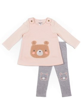 Little Lass Baby Girl Bear Knit Top, Textured Jumper, and Leggings, 3pc Outfit Set