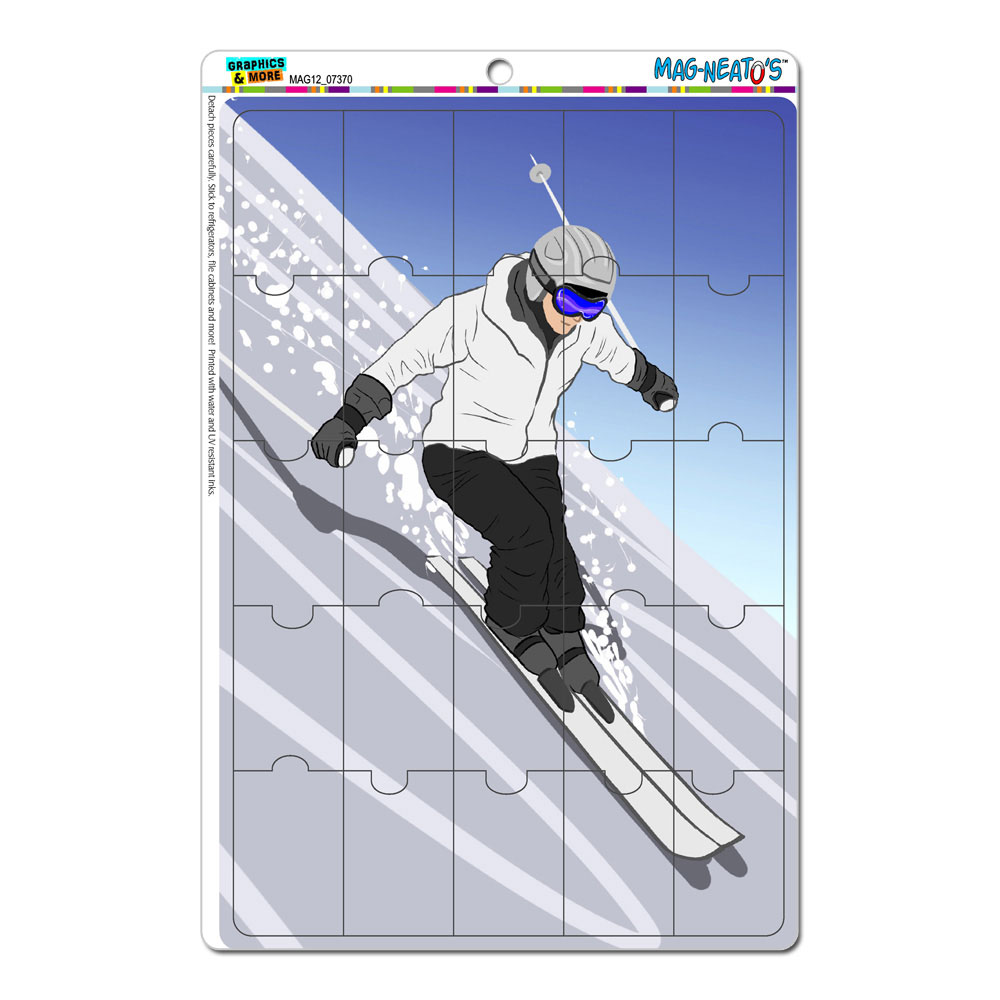 Skiing Down a Mountain Skier Snow Skis Mag-NEATO'S(TM) Puzzle Magnet by Graphics and More