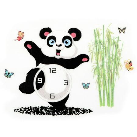 PVC Panda Pattern DIY Self-adhesive Water Resistant Wall Sticker Decor Clock