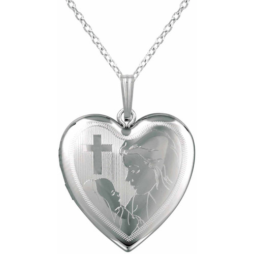 Sterling Silver SS and Heart-Shaped with Cross and Mother and Baby Locket