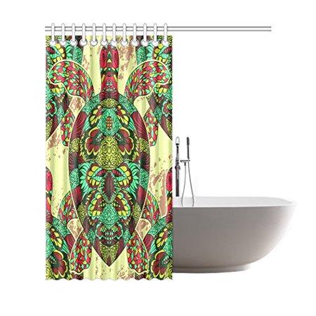 GCKG Underwater Sea Animal Turtle Shower Curtain, Ethnic Tribal Mandala Tortoise Polyester Fabric Shower Curtain Bathroom Sets 66x72 Inches - image 1 de 3