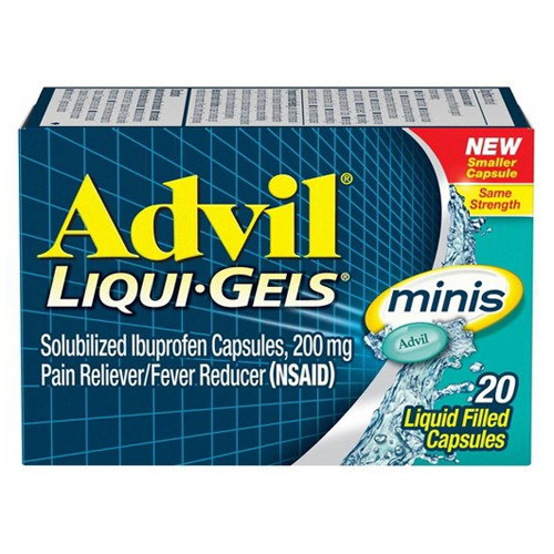 Advil Liquid Gels Minis, Pain Reliever And Fever Reducer Liquid Filled Capsules, 20 Ea, 2 Pack