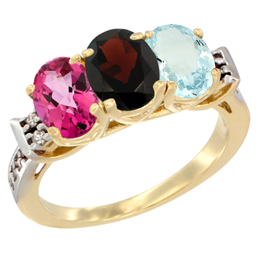 10K Yellow Gold Natural Pink Topaz, Garnet & Aquamarine Ring 3-Stone Oval 7x5 mm Diamond Accent, sizes 5 10 by WorldJewels