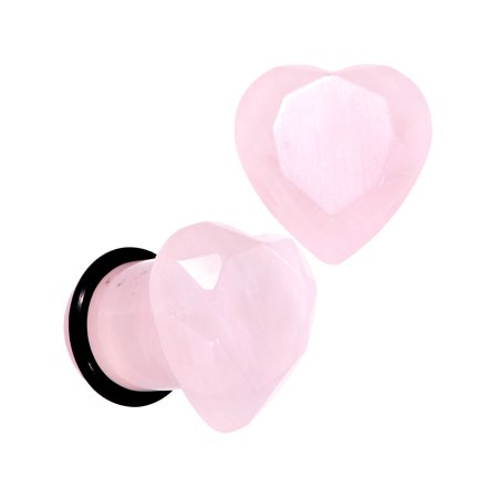 Faceted Single (Body Candy 00G Womens 2Pc Ear Plugs Rose Quartz Faceted Heart Single Flare Ear Plug Gauges Set of 2 10mm)