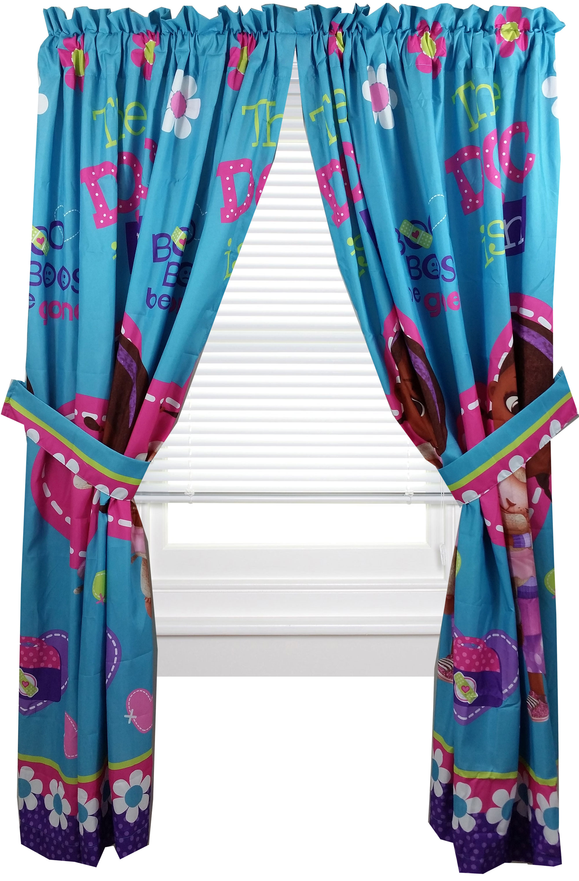 disney doc mcstuffins window panels curtains drapes 42in x 63in set of 2 walmartcom