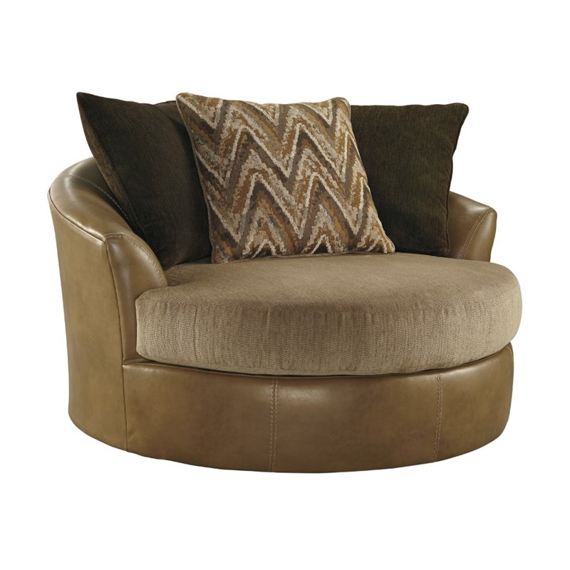 Ashley Declain Oversized Swivel Accent Faux Leather Chair in Sand