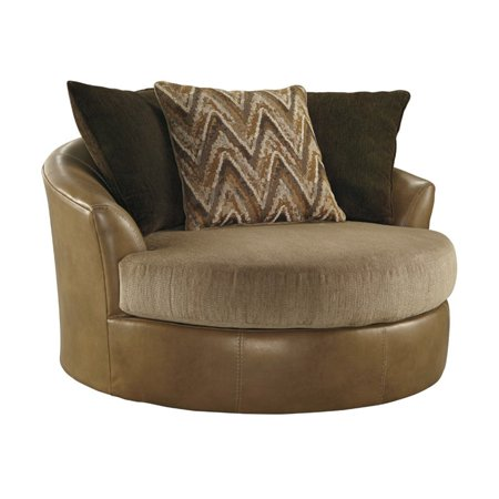 Ashley Declain Oversized Swivel Accent Faux Leather Chair