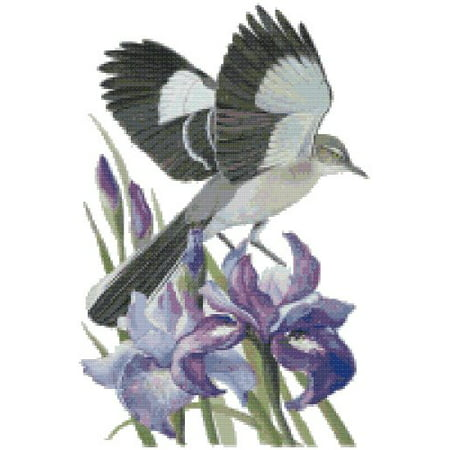 Tiger Cross Stitch Pattern - Tennessee State Bird and Flower Northern Mockingbird and Iris Counted Cross Stitch Pattern