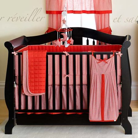 Seed Sprout Gingham Crib Bedding 3 Piece Set Red