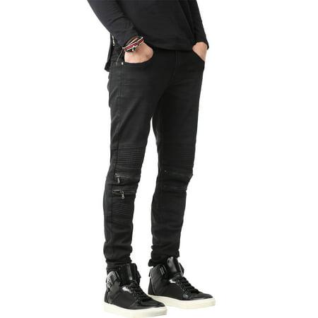 2f246ee71e7 SH Mens BIKER JEANS Distressed Ripped Zipper Straight Slim Fit Stretch  Denim Pants 1SHA0002 - Walmart.com