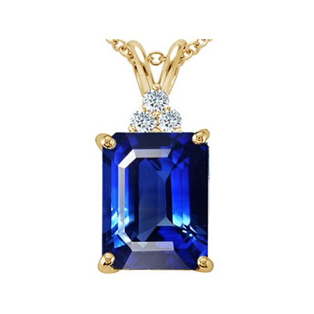 Tommaso Design Emerald Cut 10x8mm Created Blue Sapphire Pendant Necklace Blue Sapphire Emerald Necklace