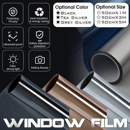 3.3/10/16.5 FT Solar Reflective Window Film One Way Privacy Mirror Tint Film Black/Tea Silver/Grey Silver