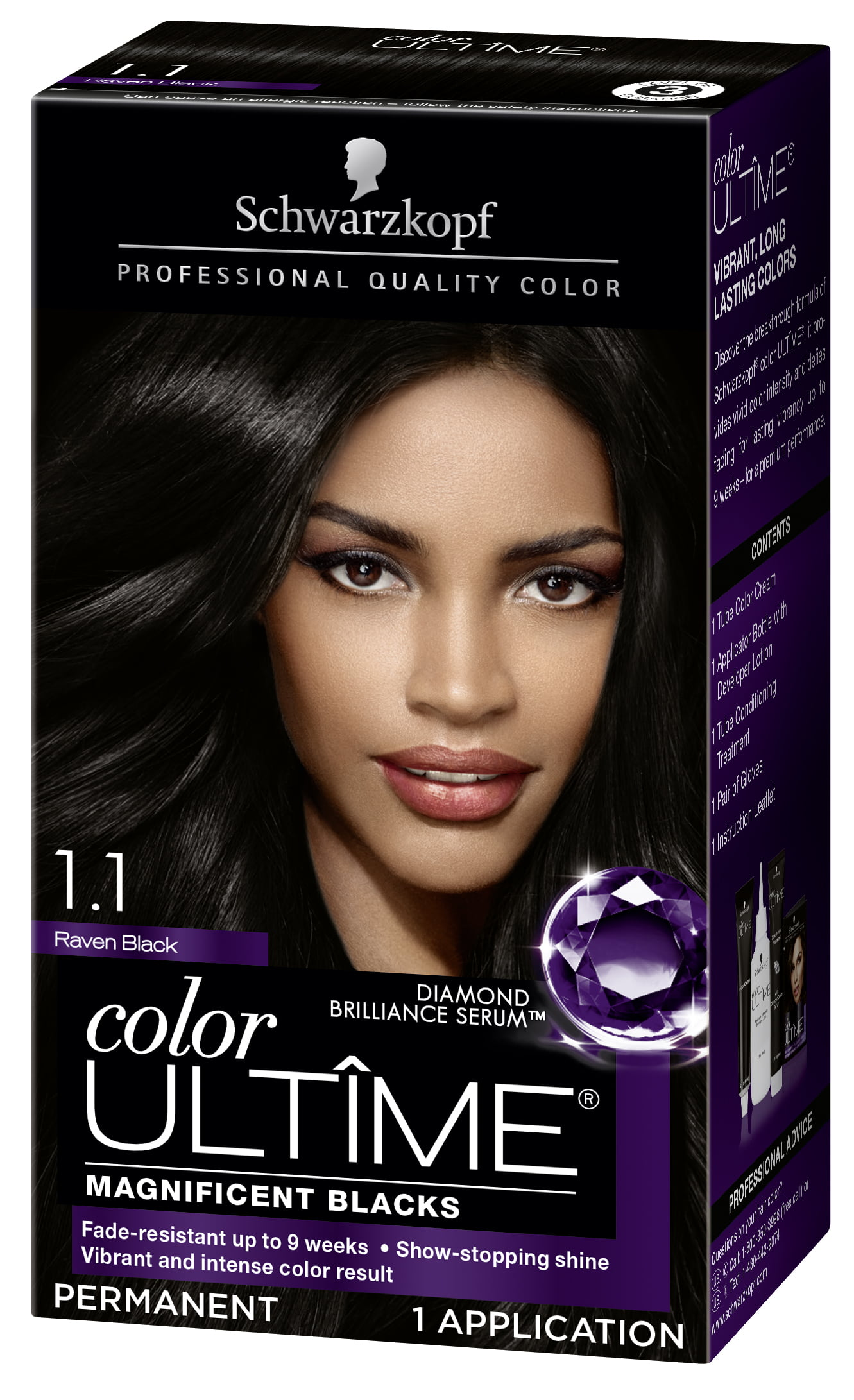 9e5aba7f6ff526 Schwarzkopf Color Ultime Permanent Hair Color Cream, 3.3 Amethyst Black -  Walmart.com
