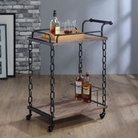 ACME Jodie Serving Cart, Rustic Oak and Antique Black