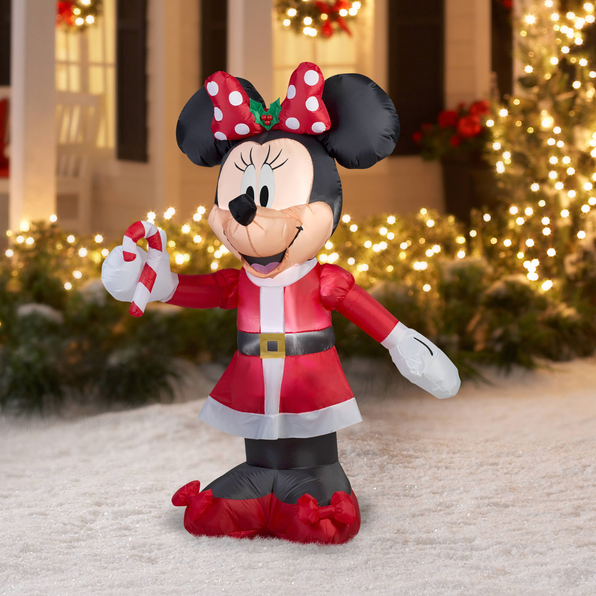 gemmy airblown christmas inflatables 5 disney minnie with candy cane walmartcom - Mickey And Minnie Christmas Decorations