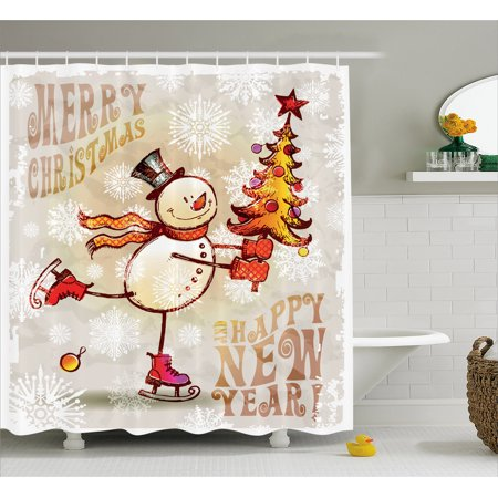 Christmas Shower Curtain, Skating Happy Snowman with Christmas Tree Cheerful Hand Drawn Ornate Snowflakes, Fabric Bathroom Set with Hooks, Multicolor, by Ambesonne](Snowman Bathroom Sets)