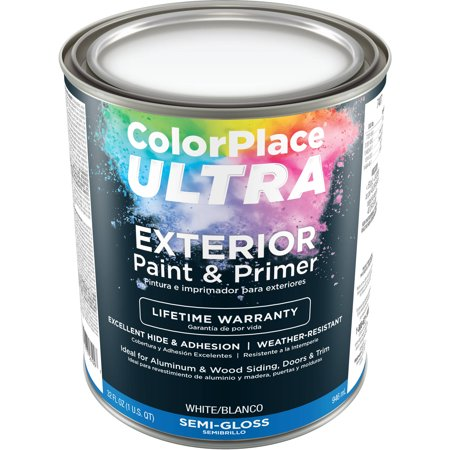 Color Place Ultra Semi Gloss Exterior White Paint And Primer 1 Qt