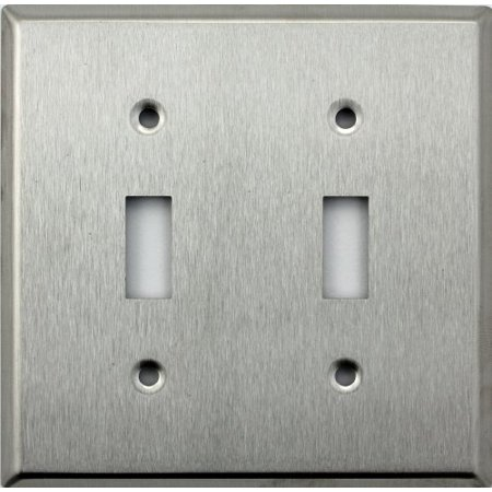 Classic Accents Brushed Satin Stainless Steel 2 Gang Wall Plate - 2 Toggle Light Switches Accent Wall Plates Decorative Steel