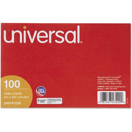 (4 Pack) Universal Unruled Index Cards, 4 x 6, White, 100/Pack -UNV47220