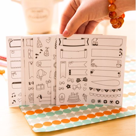 6 Sheets DIY Cute Photos Paper Sticker  Printing Paper Scrapbook Calendar Diary Planner