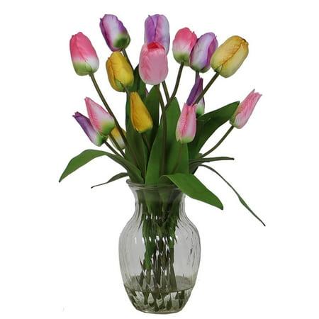20\u0026quot; Artificial Spring Tulip Flower Arrangement in Glass Vase  Walmart.com