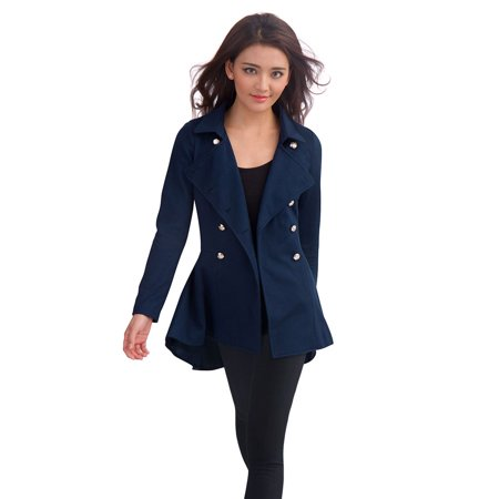 Image of Allegra K Women's Button Closed Worsted Coat Blue (Size XL / 16)