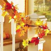 Thanksgiving Decorations Autumn Garland - Thanksgiving Decor Fall Garland Lights with 10 LED -Waterproof