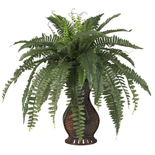 Decorative Natural Looking Artificial Faux Fake Boston Fern w/ Urn Silk Plants