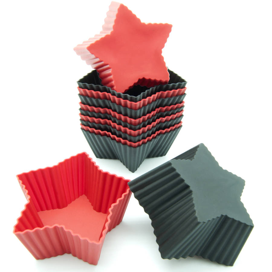 Freshware 12-Pack Mini Star Reusable Silicone Baking Cup, Black and Red, CB-303RB