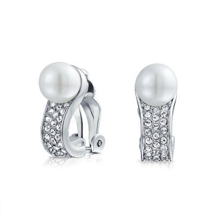 Bridal Crystal Fashion White Simulated Pearl Huggie Clip On Earrings For Women Non Pierced Ear Silver Plated Brass (Clip White Earrings)