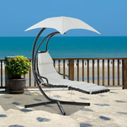 Swing Chair Outdoor Hanging Hammock Chaise with Stand and Canopy Cream White