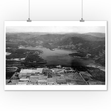 Idaho - Hayden Lake Aerial - Vintage Photograph (9x12 Art Print, Wall Decor Travel Poster) ()