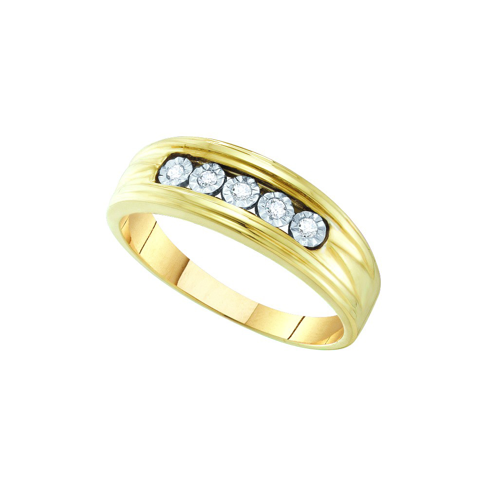 10k Yellow Gold Mens Round Natural Diamond Fanuk Wedding Band Ring Mens (.10 cttw.) size- 12.5 by