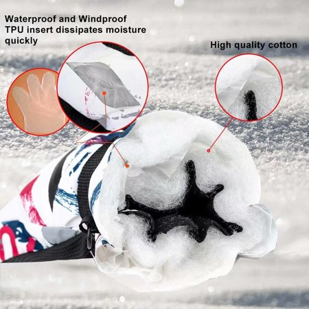 Winter Ski Gloves Warm Lining Windproof Waterproof Gloves, Lightweight Non-Slip Snow Gloves for Men Women Skiing Snowboarding Skating - image 5 of 7