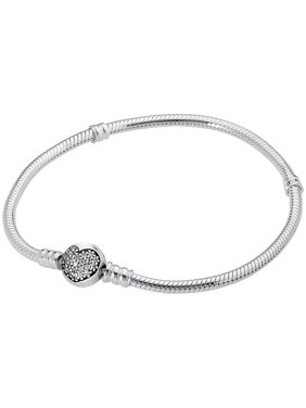 Product Image Pandora Moments Silver Bracelet with Sparkling Heart Clasp 590743CZ19