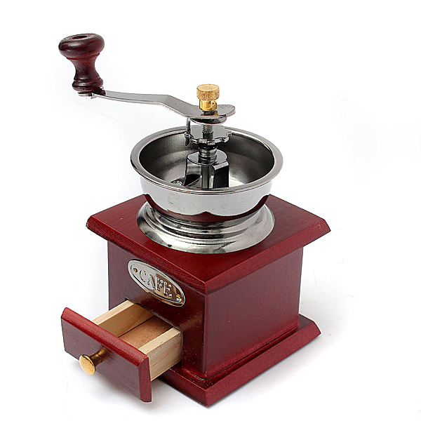 Vintage Mini Manual Coffeemaker ,Mill Wood Stand Metal Bowl Antique Hand Coffee