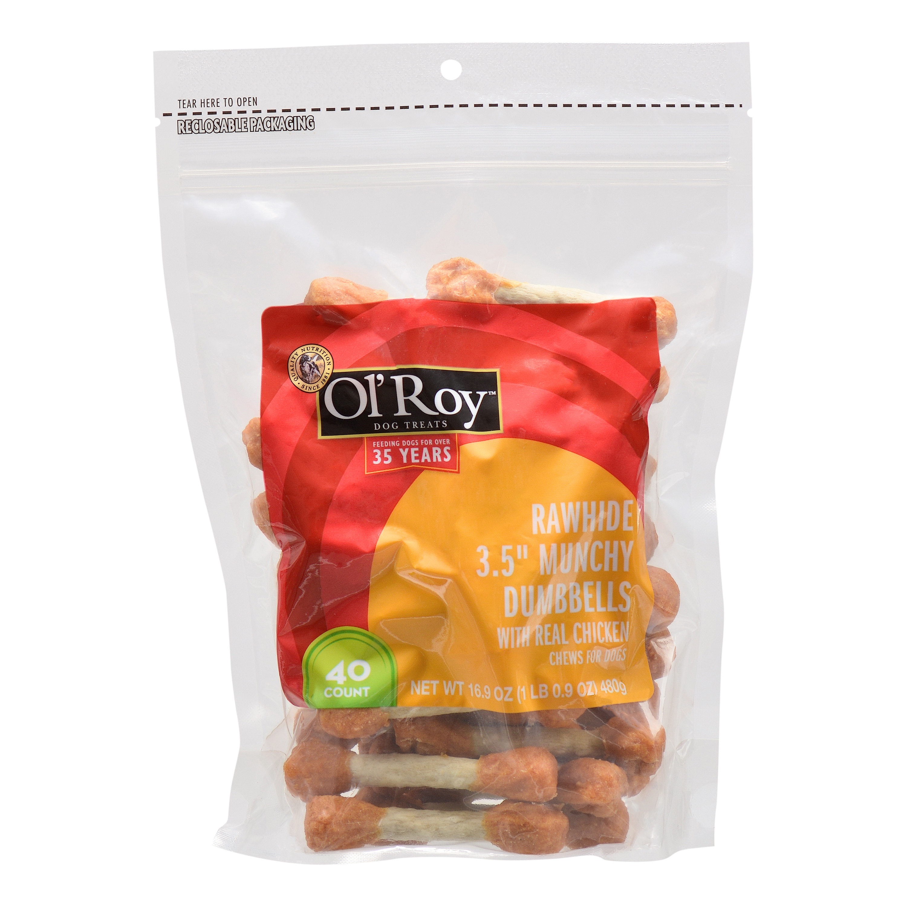 Ol' Roy Dog Treats Munchy Rawhide Chicken Dumbbells, 40 Count