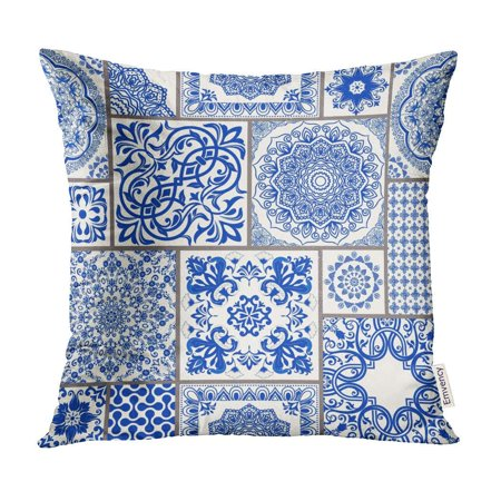 Majolica Pottery - ECCOT Patchwork Victorian Motives Majolica Pottery Blue and White Azulejo Original Traditional Pillow Case Pillow Cover 20x20 inch